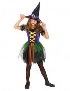 Farbenfrohe Hexe-Kinderkostüm Halloween bunt