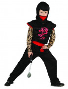 Ninjakostüm für Kinder schwarz-rot