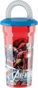 Trink Becher Lizenzartikel Avengers mit Strohhalm bunt