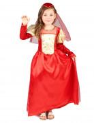 Mittelalter-Mädchenkostüm Burgfräulein rot-gold