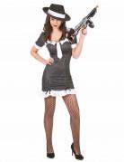 Sexy Gangster Damenkostüm schwarz-weiss