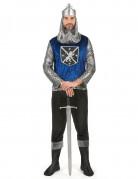 Tapferer Ritter Mittelalter-Herrenkostüm silber-blau-schwarz