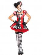 Sexy Harlekin Damenkostüm Clown schwarz-rot-weiss