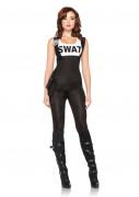SWAT Offizierin Soldatin Damenkostüm schwarz-weiss