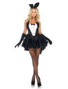 Heisser Hase Damenkostüm Showgirl-Bunny schwarz-weiss