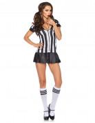 Sexy Schiedsrichterin-Kostüm Erwachsene weiß-schwarz