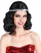 Schulterlange Charleston-Damenperücke mit Haarband schwarz