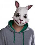 Killer-Bunny Latex-Maske Halloween weiss-schwarz