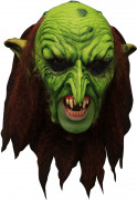 3/4 Koboldmaske mit Gebiss Goblin-Maske grün-braun