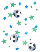 Fussball Konfetti Sterne und Bälle Party-Deko blau-grün-schwarz-weiss 14g