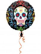 Sugar Skull Totenschädel Folien-Ballon Halloween Party-Deko bunt 43x43cm