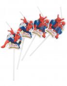 Spiderman Trinkhalme Party-Deko 6 Stück weiss-bunt 25cm