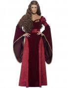 Mittelalterliche Königin Deluxe Rote Königin Damenkostüm rot