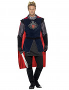 Mittelalterlicher König Deluxe Kostüm schwarz-silber-rot