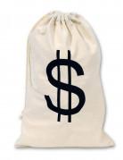 Geldsack Beutel mit Dollarzeichen Bankräuber-Kostümzubehör beige 42x26cm