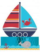 Tischaufsteller Segelboot Party-Accessoire bunt 30x22cm