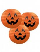 Halloween Laternen Kürbis Deko 3 Stück orange-schwarz 24cm