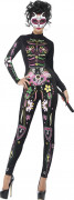 Sugar Skull Katze Halloween Damenkostüm schwarz-bunt