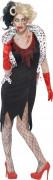 Untote Zombie-Diva Halloween Kostüm für Damen schwarz-weiss-rot