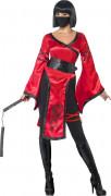Ninja Kriegerin Kimono Damenkostüm rot-schwarz