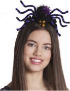Halloween-Haarreif mit Spinne lila-schwarz-gelb