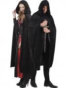 Fantasy Samt-Umhang Cape mit Kapuze Vampirin schwarz