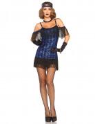 Elegantes 20er Jahre Damenkostüm Flapper blau-schwarz
