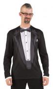 T-Shirt im Gala-Anzug-Look für Erwachsene, schwarz-weiß