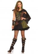 Mittelalter Bogenschützin Damenkostüm grün-braun