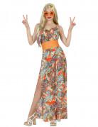 Elegantes 60er Jahre Maxikleid Damenkostüm Hippie Plus Size bunt