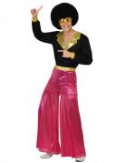 Glänzendes Disco-Outfit 70er-Kostüm pink-schwarz-gold