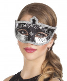 Venezianische Augenmaske mit Verzierungen Kostüm-Accessoire schwarz-silber