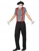 Pantomimen-Kostüm für Herren in Schwarz Weiß und Rot