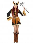 Wikinger-Kriegerin Damenkostüm braun-schwarz