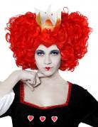Voluminöse Herzkönigin-Damenperücke mit Krone rot