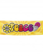 70er Hippie Banner Peace Party-Deko bunt 74x220cm