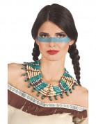 Indianer Damenhalskette türkis-bunt