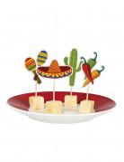 Mexiko-Partypicker Zahnstocher 12 Stück bunt 7cm