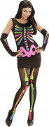 Sexy Neon Skelett Halloween Damenkostüm schwarz-bunt