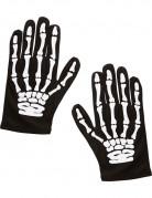 Knochen-Kinderhandschuhe Halloween-Zubehör schwarz-weiss