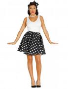 50er-Damenkostüm Rock und Kopftuch schwarz-weiss