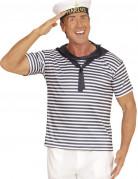 Matrosen-Kostüm Shirt und Mütze weiss-blau