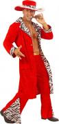 70er Jahre Pimp Kostüm Disco Bordell-Bronco rot-schwarz-weiss