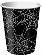 Spinnenweben Becher Halloween Pappbecher Set 8 Stück schwarz-weiss 250ml