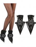 Hexen-Schuhcover Hexenkostüm-Zubehör 2 Stück schwarz-silber