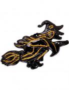 Hexe auf Besen Halloween-Wanddeko schwarz-gold 58x30cm