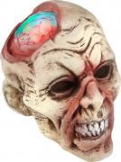 Zombie-Schädel mit leuchtendem Gehirn Halloween-Party-Deko beige-rot 21x17x16cm