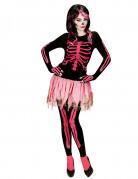Süsse Skelett-Frau Halloween Damenkostüm Plus Size schwarz-pink