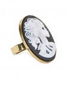 Geisterfrauen-Ring Halloween-Ring gold-weiss-schwarz 3,5cm
