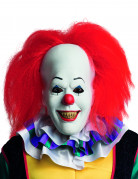 Horrorclown-Maske Es-Maske Stephen King Lizenzartikel weiss-rot
